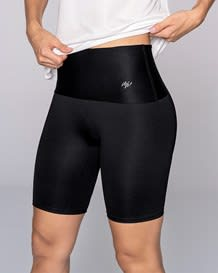 high-waisted knee-length shaper bike short - activelife-700- Black-MainImage