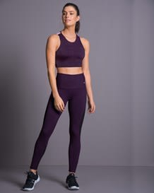 sheer tulle panel shaper legging - activelife-419- Dark Purple-MainImage
