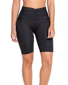 mid thigh workout compression short with ruched overlay - activelife--MainImage