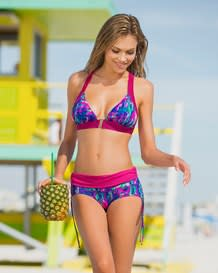 color pop triangle bikini swimsuit with gold front clasp-970- Pink and Blue-MainImage
