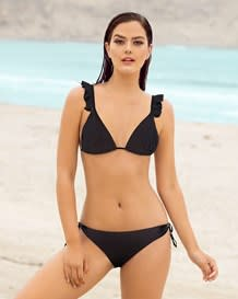 bikini triangular con top tipo cortina y boleros-700- Black-MainImage