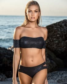 bikini bandeau con mangas y acabado brillante-700- Black-MainImage