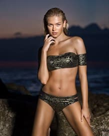 beautiful strapless bandeau top and bikini bottom swimwear-701- Black-MainImage