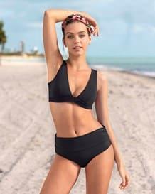 bikini triangular de escote profundo con cordon en espalda-700- Black-MainImage