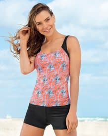 tankini estampado con short con buen cubrimiento-215- Light Orange-MainImage