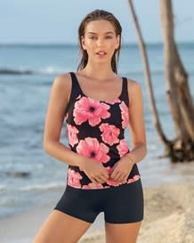 bright floral printed tankini with short bottom-712- Floral-MainImage