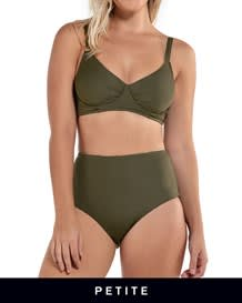 adjustable triangle top bikini with high-waisted reversible bottom-695- Dark Green-MainImage