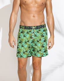 mens short contrast swim trunk-601- Palm Trees Print-MainImage