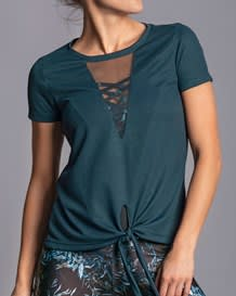 knot front mesh cutout short sleeve shirt - activelife-547- Blue-MainImage