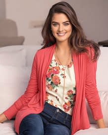 loose-fit long sleeve cardigan-279- Coral-MainImage