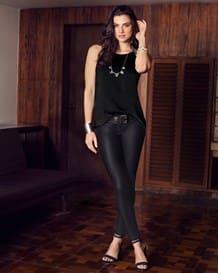pantalon skinny de acabado brillante-700- Black-MainImage