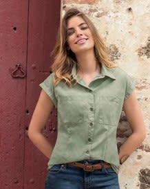 blusa manga corta con botones y bolsillos-601- Green-MainImage