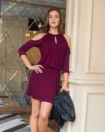 vestido elastico en cintura y manga larga-349- Vino-MainImage