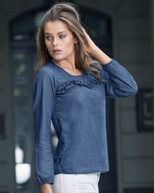 blusa manga larga semiajustada indigo-141- Denim-MainImage