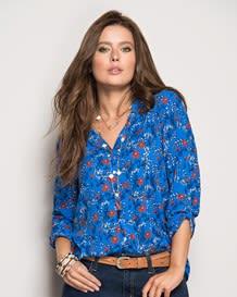 blusa manga 34 tejido plano-077- Blue-MainImage