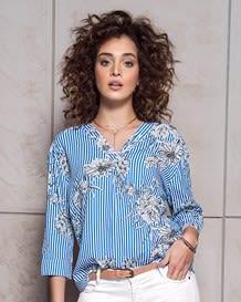 blusa rayas manga 34 silueta amplia-077- Estampado-MainImage