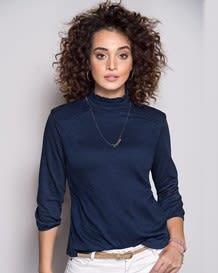 camiseta manga 34 cuello alto-457- Blue-MainImage