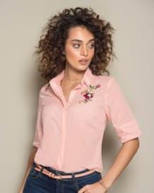 blusa manga corta con flor-180- Pink-MainImage