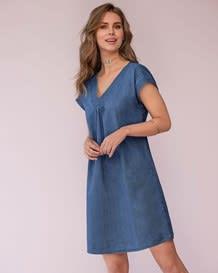 vestido manga corta tejido plano indigo-141- Denim-MainImage