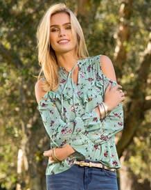 blusa manga larga con tira para anudar en escote-077- Pink Print-MainImage