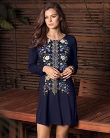 embroidered look front loose-fit long-sleeved dress-567- Dark Blue-MainImage
