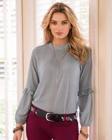 blusa manga larga semiajustada con bolero alrededor del codo-154- Gray-MainImage