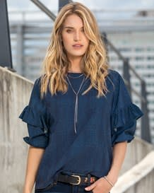 blusa manga 34 con elastico en mangas tejido plano 100 rayon-557- Blue-MainImage