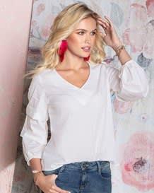 blusa manga corta cuello en v blanca-000- White-MainImage