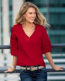 blusa manga 34 con elastico-302- Rojo-MainImage