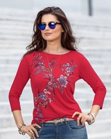 34 sleeve semi-fitted shirt-370- Red-MainImage