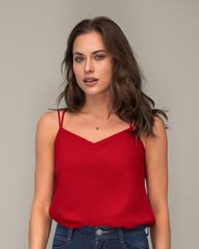 spaghetti strap blouse-370- Red-MainImage