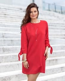 34 tie-sleeve dress-370- Red-MainImage