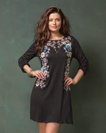 vestido manga 34 silueta amplia con flores-700- Black-MainImage