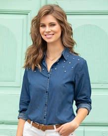 blusa manga larga con perlas-141- Denim-MainImage