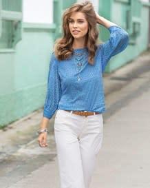blusa manga 34 estampado azul con flores-077- Blue-MainImage