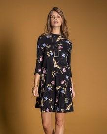 vestido manga 34 flores y aves-077- Floral-MainImage