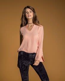 blusa manga larga con abertura-181- Tangerine-MainImage