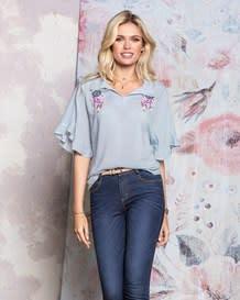 blusa manga corta estampado en rayas con flor-146- Stripes-MainImage