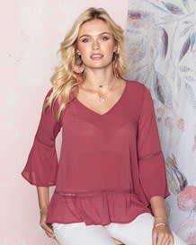 blusa manga 34 cuello en v y silueta amplia-221- Pink-MainImage