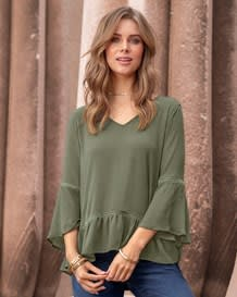 ruffle 34 sleeve blouse-601- Green-MainImage