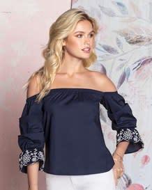 blusa con estampado en manga 34-567- Dark Blue-MainImage
