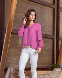 v-neck lantern sleeve shirt-316- Pink-MainImage