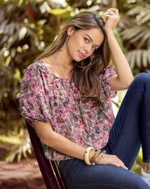 blusa manga corta silueta amplia con elastico en cintura-077- Estampado-MainImage
