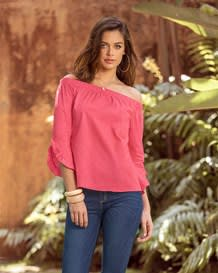off-shoulder stretch cotton 34 sleeve blouse-279- Coral-MainImage