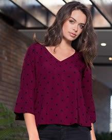 blusa manga 34 semiajustada tejido plano-077- Estampado-MainImage