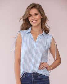 blusa recogida con tira para anudar en hombros-146- Stripes-MainImage