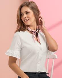 blusa semiajustada con perilla funcional y boleros en manga-134- White-MainImage