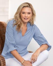 blusa manga 34 con elasticos y cuello v-159- Blue-MainImage