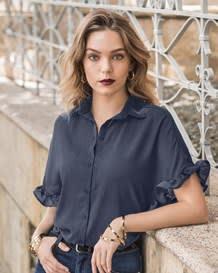 blusa boleros en manga corta y perilla de boton-557- Blue-MainImage