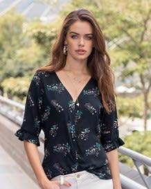 blusa manga corta perilla con botones-077- Estampado-MainImage